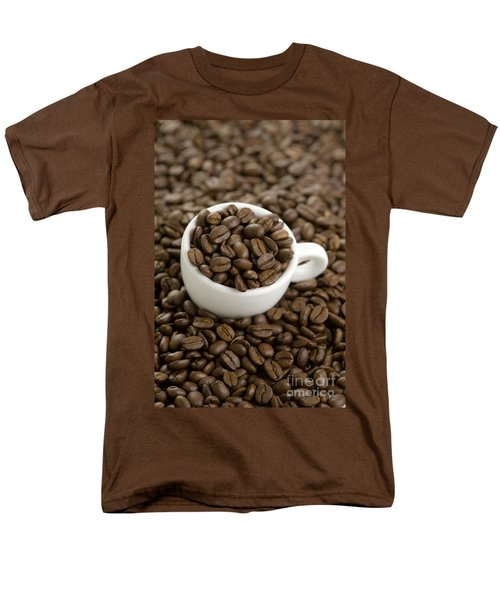 Men's T-Shirt  (Regular Fit) featuring the photograph Coffe Beans And Coffee Cup by Lee Avison