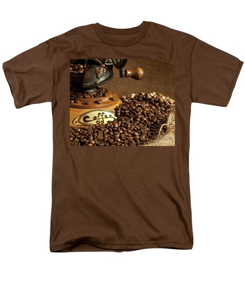 Coffee Grinder With Beans Men's T-Shirt  (Regular Fit) by Gunter Nezhoda