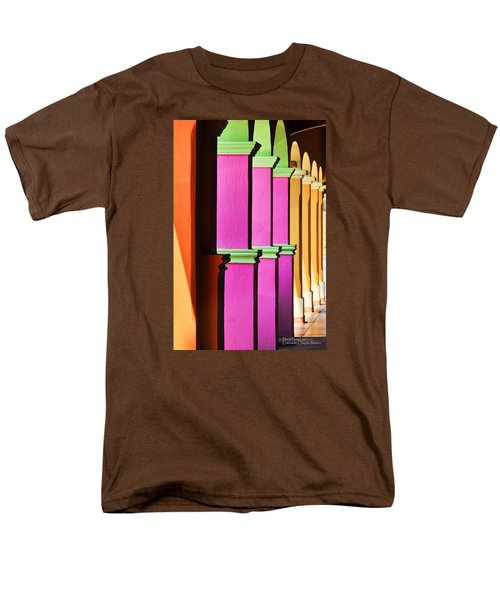 Men's T-Shirt  (Regular Fit) featuring the photograph Colorful Colonnade - Lake Chapala - Mexico - Travel Photography By David Perry Lawrence by David Perry Lawrence