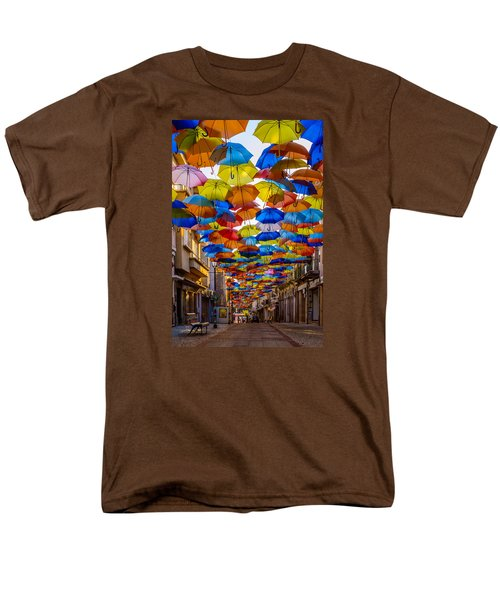 Colorful Floating Umbrellas Men's T-Shirt  (Regular Fit) by Marco Oliveira