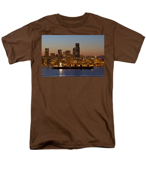 Men's T-Shirt  (Regular Fit) featuring the photograph Container Ship On Puget Sound Along Seattle Skyline by JPLDesigns