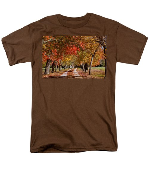 Men's T-Shirt  (Regular Fit) featuring the photograph Country Lane In Autumn by Jerry Gammon