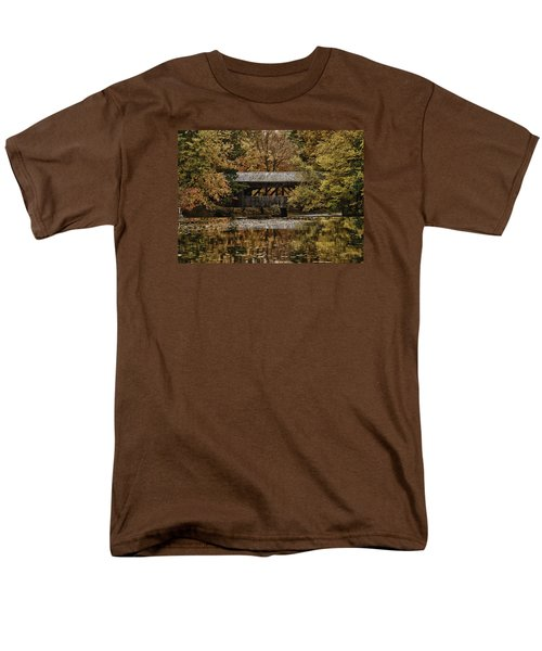 Covered Bridge At Sturbridge Village Men's T-Shirt  (Regular Fit) by Jeff Folger