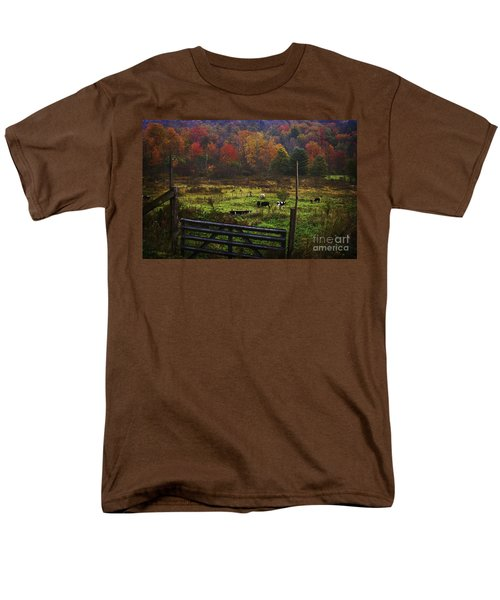 Men's T-Shirt  (Regular Fit) featuring the photograph Cow Pasture In Autumn by Debra Fedchin