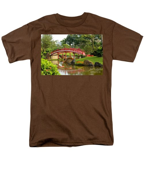 Men's T-Shirt  (Regular Fit) featuring the photograph Curved Red Japanese Bridge And Stream Chinese Gardens Singapore by Imran Ahmed