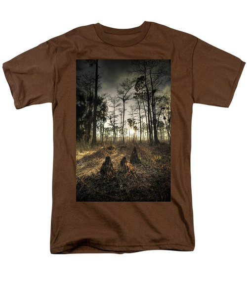 Cypress Stumps And Sunset Fire Men's T-Shirt  (Regular Fit) by Bradley R Youngberg