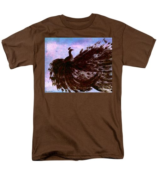 Men's T-Shirt  (Regular Fit) featuring the digital art Dancing Peacock Blue Pink Wash by Anita Lewis