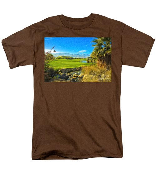 Men's T-Shirt  (Regular Fit) featuring the photograph Desert Golf Resort Pastel Photograph by David Zanzinger