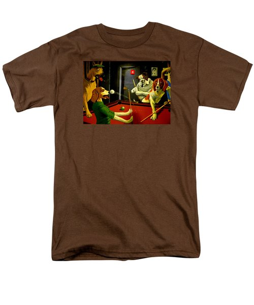 Dogs Playing Pool Wall Art Unknown Painter Men's T-Shirt  (Regular Fit) by Kathy Barney