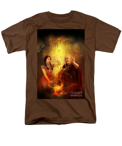 Men's T-Shirt  (Regular Fit) featuring the painting Drum Story Elders Teaching by Rob Corsetti