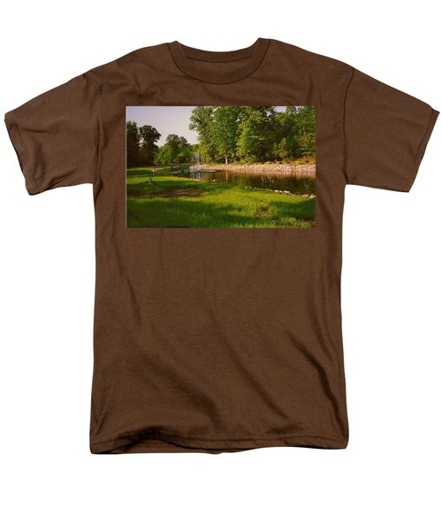 Duck Pond With Water Fountain Men's T-Shirt  (Regular Fit) by Amazing Photographs AKA Christian Wilson