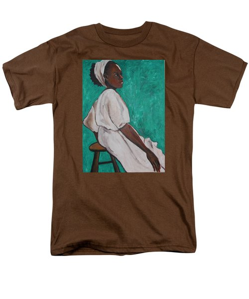 Men's T-Shirt  (Regular Fit) featuring the painting Ethiopian Woman In Green by Esther Newman-Cohen