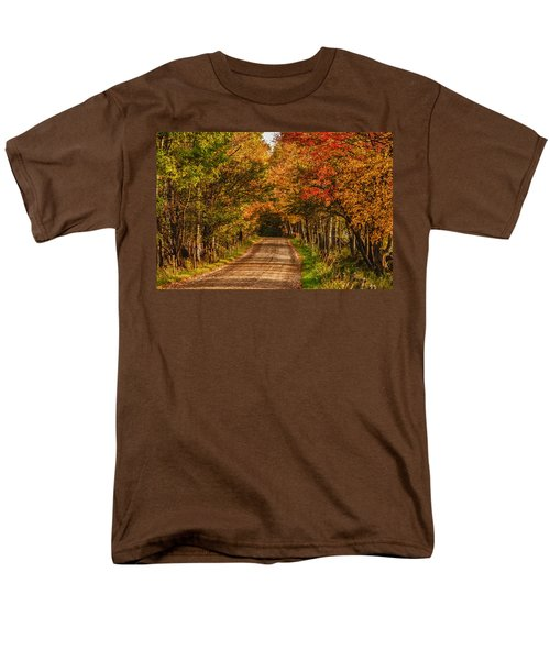 Fall Color Along A Dirt Backroad Men's T-Shirt  (Regular Fit) by Jeff Folger