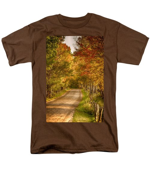 Fall Color Along A Peacham Vermont Backroad Men's T-Shirt  (Regular Fit) by Jeff Folger