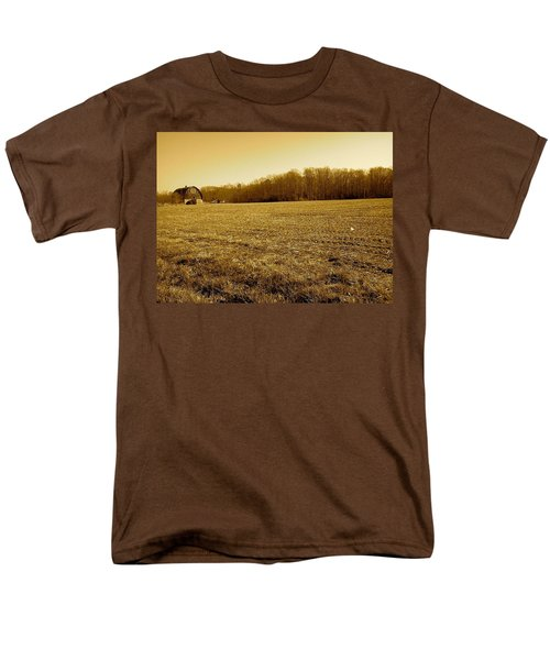 Farm Field With Old Barn In Sepia Men's T-Shirt  (Regular Fit) by Amazing Photographs AKA Christian Wilson