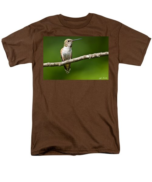 Men's T-Shirt  (Regular Fit) featuring the photograph Female Rufous Hummingbird In A Tree by Jeff Goulden