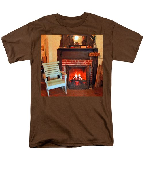 The Family Hearth - Fireplace Old Rocking Chair Men's T-Shirt  (Regular Fit) by Rebecca Korpita