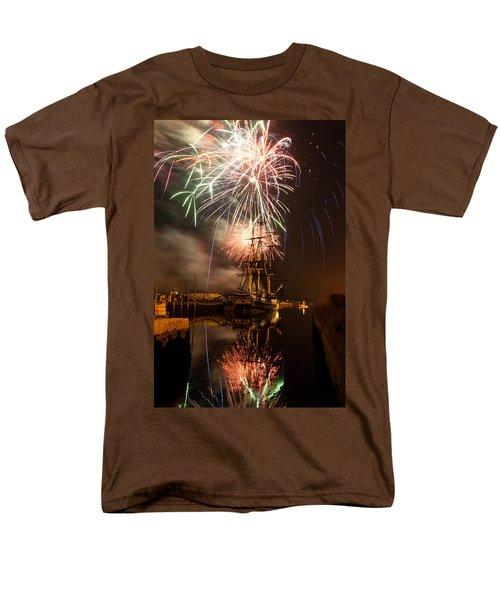 Fireworks Exploding Over Salem's Friendship Men's T-Shirt  (Regular Fit) by Jeff Folger