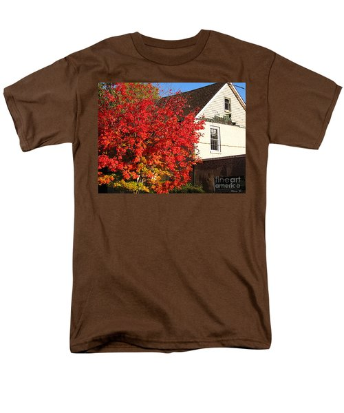 Men's T-Shirt  (Regular Fit) featuring the photograph Flaming Fall Colours On Farm House by Nina Silver