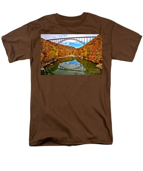 Flaming Fall Foliage At New River Gorge Men's T-Shirt  (Regular Fit) by Adam Jewell