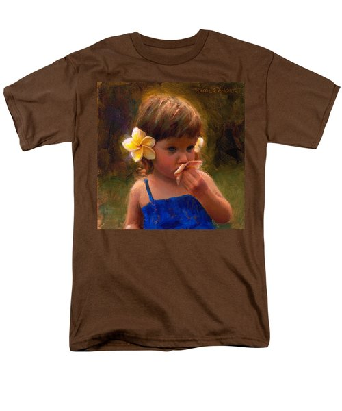 Flower Girl - Tropical Portrait With Plumeria Flowers Men's T-Shirt  (Regular Fit) by Karen Whitworth
