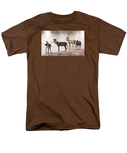 Men's T-Shirt  (Regular Fit) featuring the photograph Four Alert African Wild Dogs by Liz Leyden
