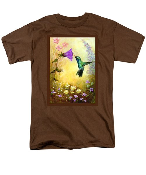 Men's T-Shirt  (Regular Fit) featuring the mixed media Garden Guest In Brown by Terry Webb Harshman