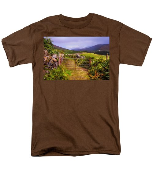 Gates On The Road. Wicklow Hills. Ireland Men's T-Shirt  (Regular Fit) by Jenny Rainbow