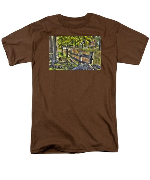 Men's T-Shirt  (Regular Fit) featuring the photograph Gettysburg At Rest - Late Summer Along The J. Weikert Farm Lane by Michael Mazaika