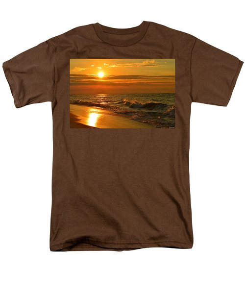 Golden Sunrise Colors With Waves And Horizon Clouds On Navarre Beach Men's T-Shirt  (Regular Fit) by Jeff at JSJ Photography