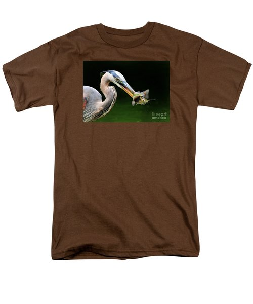 Men's T-Shirt  (Regular Fit) featuring the photograph Great Blue Heron And The Catfish by Kathy Baccari