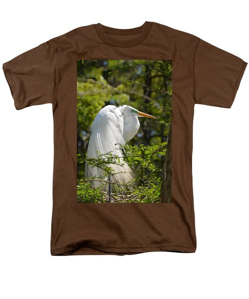 Great White Egret On Nest Men's T-Shirt  (Regular Fit) by Judith Morris