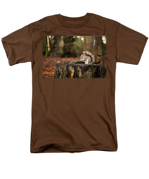 Grey Squirrel On A Stump Men's T-Shirt  (Regular Fit) by Spikey Mouse Photography