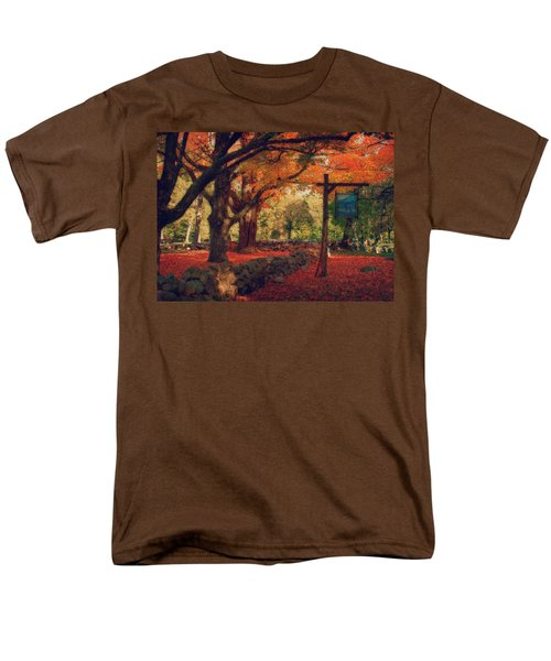 Hartwell Tavern Under Orange Fall Foliage Men's T-Shirt  (Regular Fit) by Jeff Folger