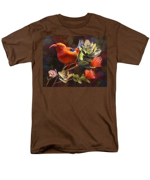 Hawaiian IIwi Bird And Ohia Lehua Flower Men's T-Shirt  (Regular Fit) by Karen Whitworth
