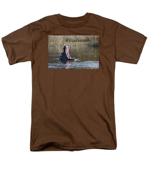 Men's T-Shirt  (Regular Fit) featuring the photograph Hippo Yawning by Liz Leyden