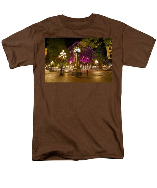 Men's T-Shirt  (Regular Fit) featuring the photograph Historic Steam Clock In Gastown Vancouver Bc by JPLDesigns
