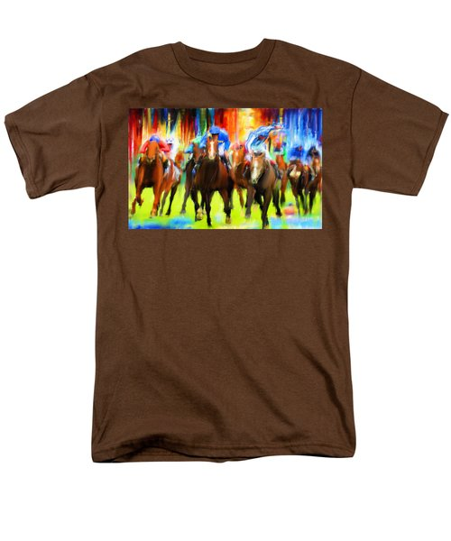Horse Racing Men's T-Shirt  (Regular Fit) by Lourry Legarde