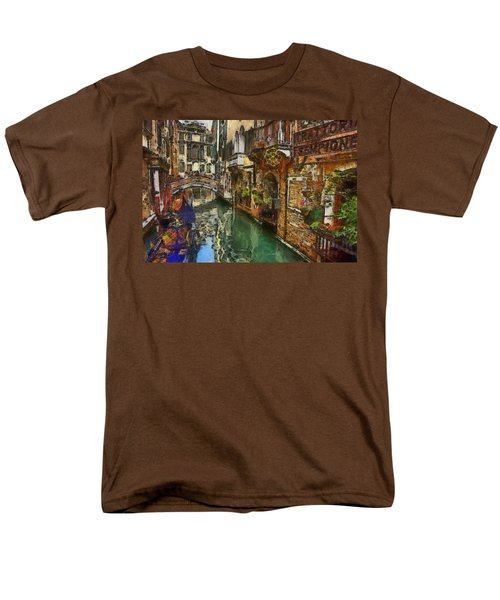 Men's T-Shirt  (Regular Fit) featuring the painting Houses In Venice Italy by Georgi Dimitrov