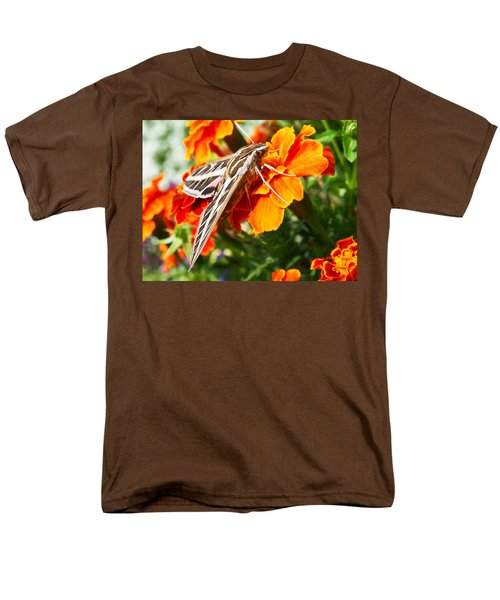 Hummingbird Moth On A Marigold Flower Men's T-Shirt  (Regular Fit) by Nadja Rider