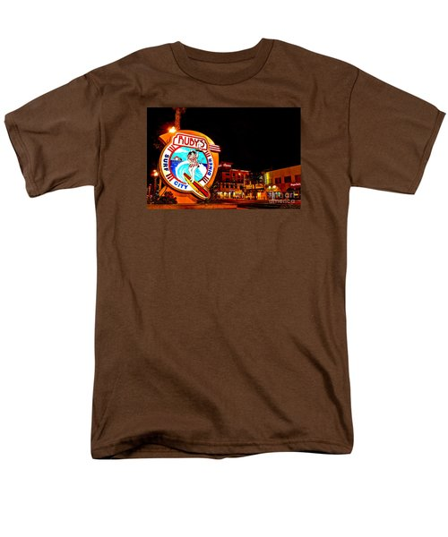 Men's T-Shirt  (Regular Fit) featuring the photograph Huntington Beach Downtown Nightside 2 by Jim Carrell