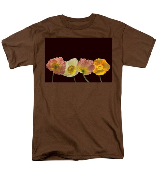 Men's T-Shirt  (Regular Fit) featuring the photograph Iceland Poppies On Black by Susan Rovira