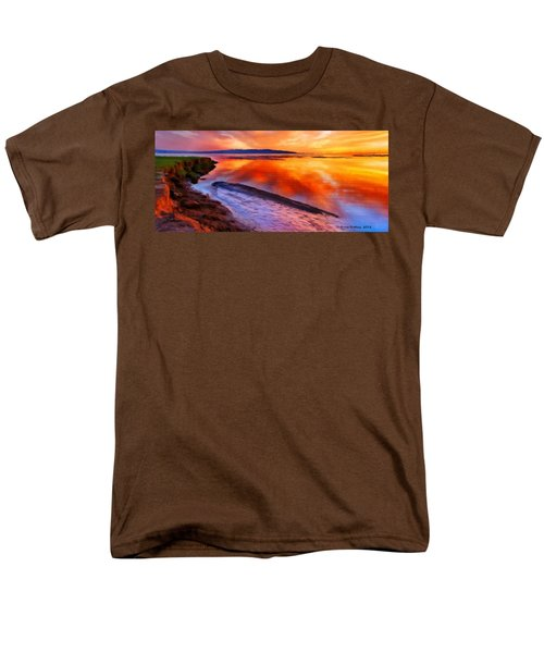 Men's T-Shirt  (Regular Fit) featuring the painting Inlet Sunset by Bruce Nutting