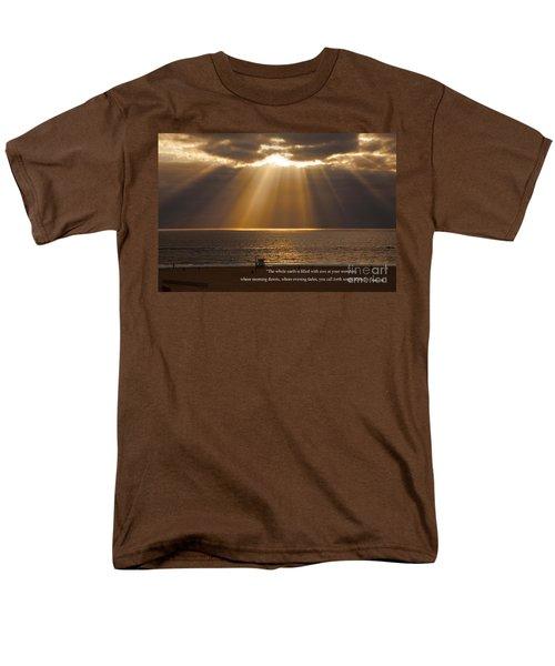 Inspirational Sun Rays Over Calm Ocean Clouds Bible Verse Photograph Men's T-Shirt  (Regular Fit) by Jerry Cowart