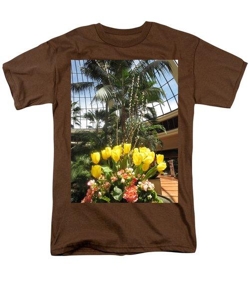 Interior Decorations Butterfly Gardens Vegas Golden Yellow Tulip Flowers Men's T-Shirt  (Regular Fit) by Navin Joshi