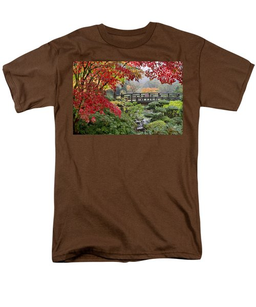 Men's T-Shirt  (Regular Fit) featuring the photograph Japanese Maple Trees By The Bridge In Fall by JPLDesigns