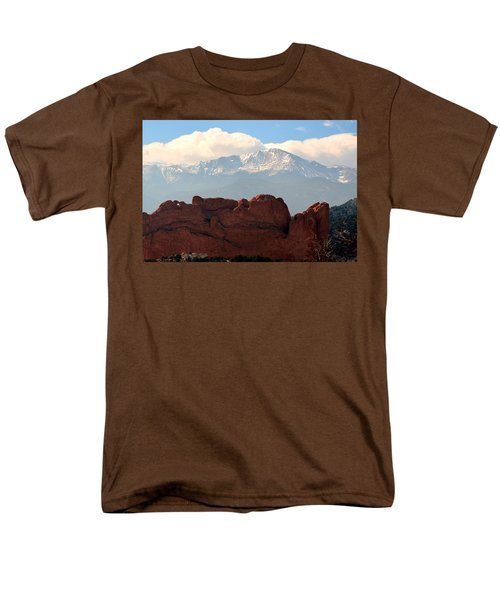 Men's T-Shirt  (Regular Fit) featuring the photograph Kissing Camels Against Pikes Peak by Clarice  Lakota