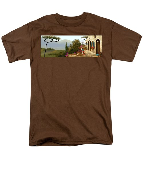 Men's T-Shirt  (Regular Fit) featuring the painting La Bella Terrazza by Larry Cirigliano