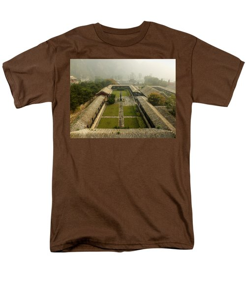 Men's T-Shirt  (Regular Fit) featuring the photograph Late Morning Fog At The Great Wall  by Lucinda Walter