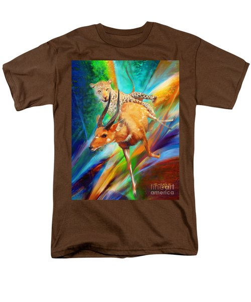 Men's T-Shirt  (Regular Fit) featuring the painting Leopard Attack by Rob Corsetti